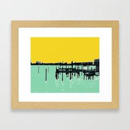 Jacksonville, Florida - modern bold photography print - Pier, dock, & skyline - St. John's river Framed Art Print