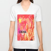 china V-neck T-shirts featuring China by Brian Raggatt