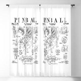Pinball Arcade Gaming Machine Vintage Gamer Patent Print Blackout Curtain