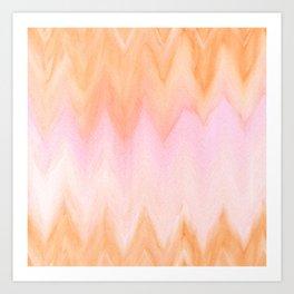 Blush pink orange watercolor hand painted ombre ikat Art Print