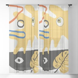 Abstract anatomy in yellow Sheer Curtain