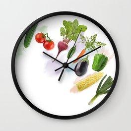 Digital Painting of  Fresh Vegetables Wall Clock
