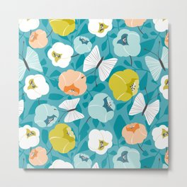 Butterfly Blossom Floral Turquoise Metal Print