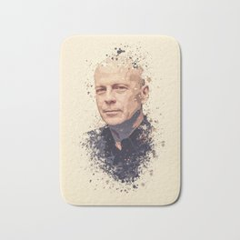 Bruce Willis splatter painting Bath Mat