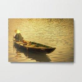 Vietnamese Boat at Sunset Metal Print