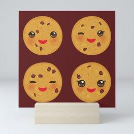 Kawaii Chocolate chip cookie Mini Art Print