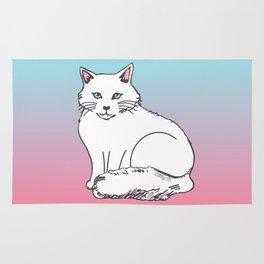 White Cat Pink & Blue Pastel Rug