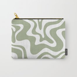 Liquid Swirl Abstract Pattern in Sage Green and White Carry-All Pouch
