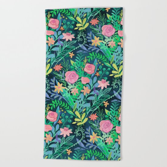 Roses + Green Messy Floral Posie Beach Towel