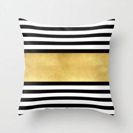 Zebra pattern with golden stripe Throw Pillow