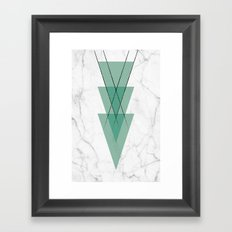 Marble Scandinavian Design Geometric Triangle Framed Art Print