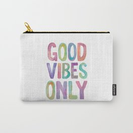 Good Vibes Only Watercolor Rainbow Typography Poster Inspirational childrens room nursery Carry-All Pouch