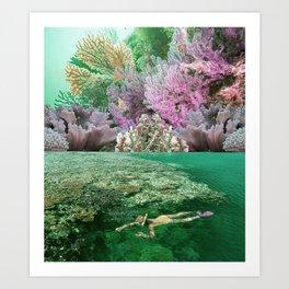 Swimming among corals Art Print