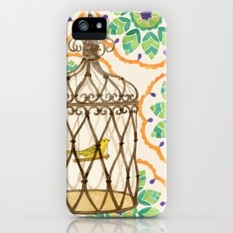 Bird in cage on Pattern by Sandy Thomson iPhone Case