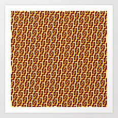 Angle Weave Red & Gold Art Print