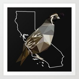 California – California Valley Quail (Black) Art Print