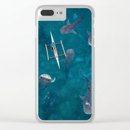 Swimming with whale sharks! Clear iPhone Case