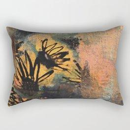 Grow Through It: sunflowers in the rain - abstract mixed media piece Rectangular Pillow