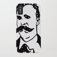 nietzsche iPhone & iPod Cases featuring  Friedrich Nietzsche Portrait Black and White Modern Art hand done  by The Odd Portrait