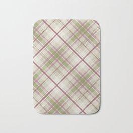 sage raspberry taupe diagonal plaid Bath Mat