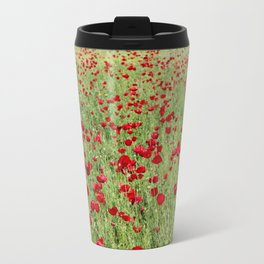 A Pasture Of Red Poppies and Remembrance Travel Mug