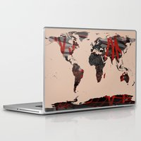 erotic Laptop & iPad Skins featuring World Map Erotic Red by andréart