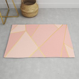 Elegant Pink Rose Gold Geometric Abstract Rug