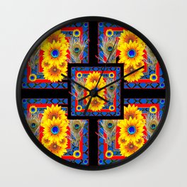 BLUE PEACOCK JEWELED SUNFLOWERS DECO ABSTRACT Wall Clock