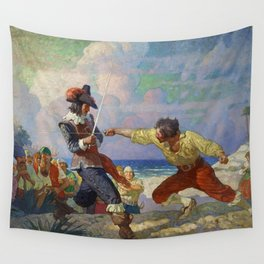 """""""The Duel on the Beach"""" by NC Wyeth Wall Tapestry"""