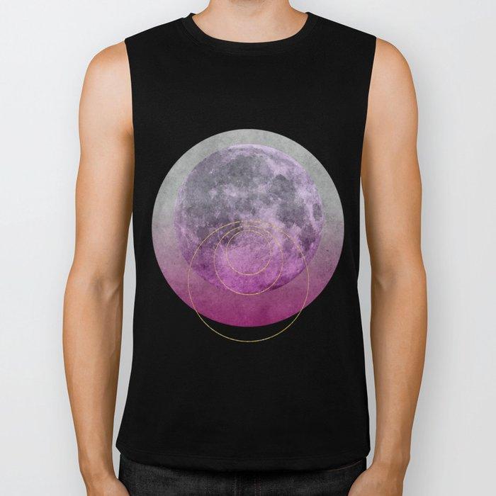 Pink Moon geometric circle mixed media Biker Tank