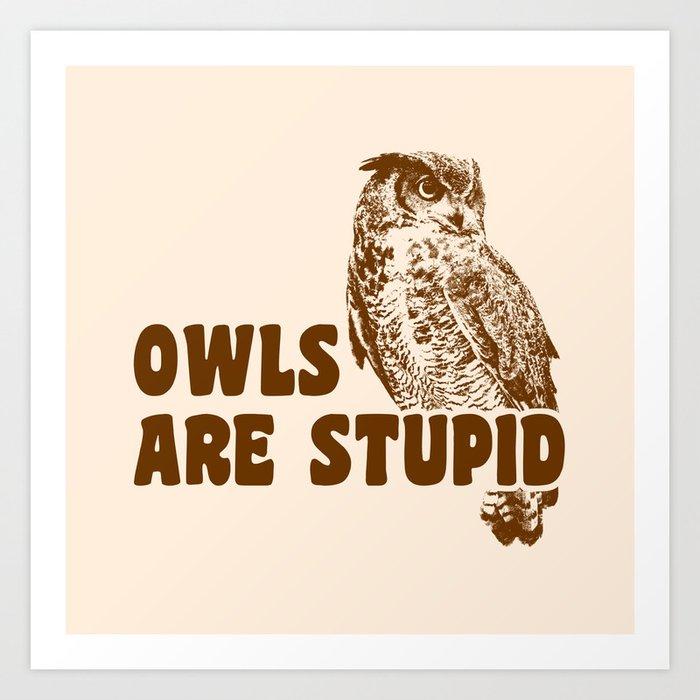 Owls Are Stupid Art Print