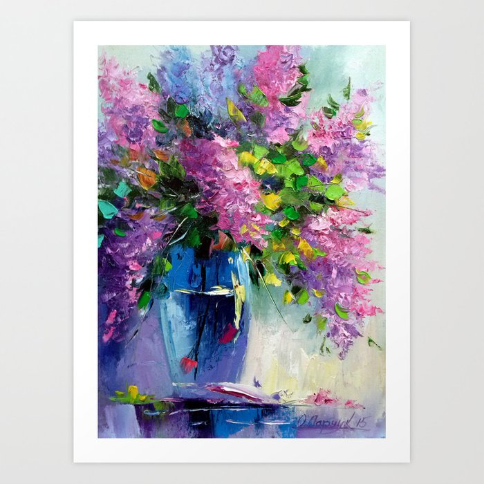 lilacs in a vase by OLHADARCHUK ART
