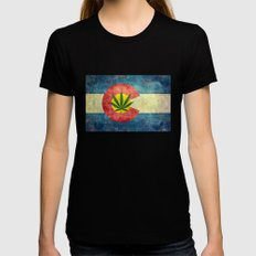 Retro Colorado State flag with the leaf - Marijuana leaf that is! MEDIUM Black Womens Fitted Tee
