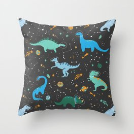 Dinosaurs in Space in Blue Throw Pillow