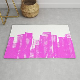 Rolled Ink Texture in Bright Pink and White Rug