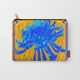 ABSTRACT BABY BLUE SPIDER MUM ON GOLD PATTERN FLOWERS Carry-All Pouch