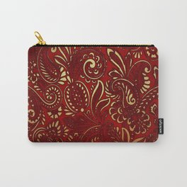 Red Burgundy Deep Gold Paisley Floral Pattern Print Carry-All Pouch