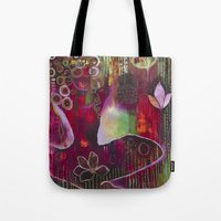 "flora bowley Tote Bags featuring ""Surrender"" Original Painting by Flora Bowley by Flora Bowley"