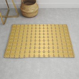 Fleur de Lis Pattern in Gold on Gold  Rug