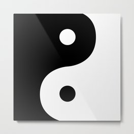 Yin And Yang Sides Metal Print