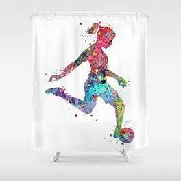 Girl Soccer Player Watercolor Print Sports Poster Shower Curtain