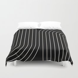 Minimal Line Curvature - Black and White II Duvet Cover