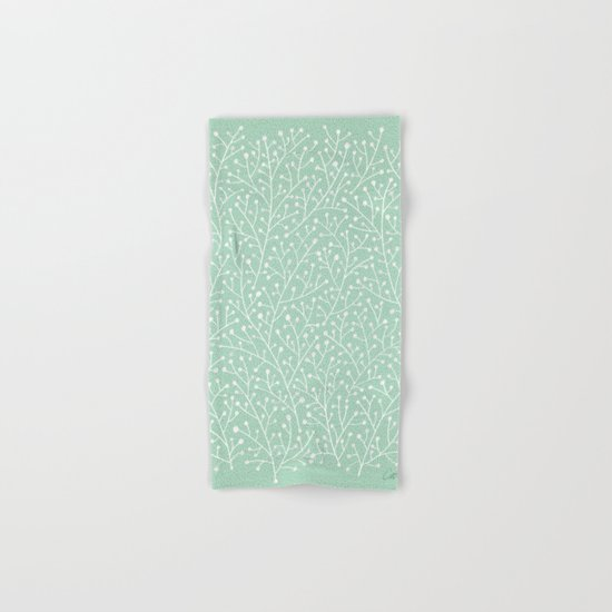 Mint Berry Branches Hand & Bath Towel
