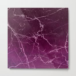 Abstract burgundy white gradient marble Metal Print