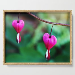 Two Hearts, Bleeding Hearts Flowers Serving Tray