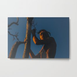 Man with tree on sky background sunrise sunset sun light strange art forest nature / 45 Metal Print