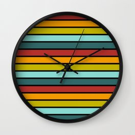 Multicolored Stripes: Rainbow Colors Wall Clock