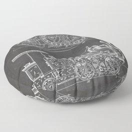 Steam Train Patent - Steam Locomotive Art - Black Chalkboard Floor Pillow