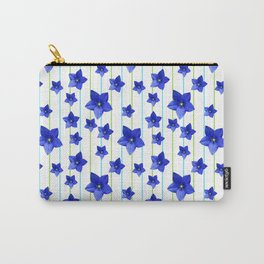 Flowers and Color Lines - Navy Blue Carry-All Pouch