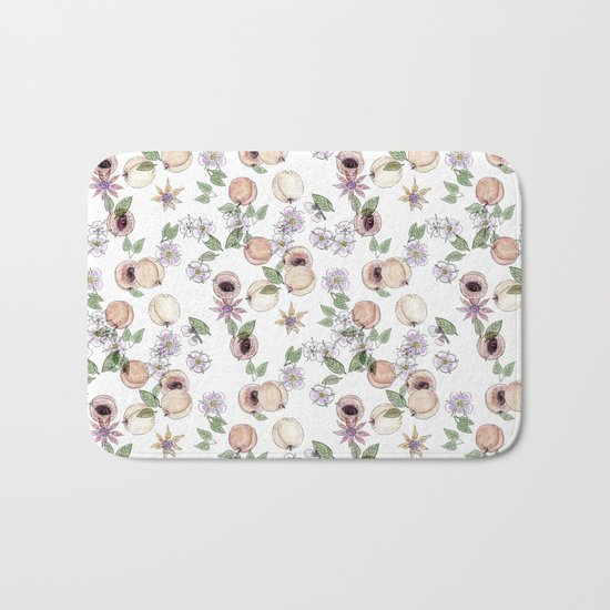 Watercolor pattern with apricots and flowers Bath Mat